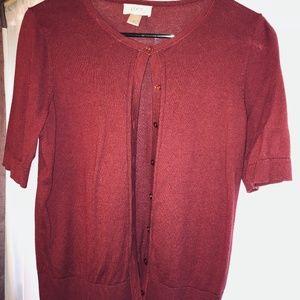 LOFT crimson red short sleeved cardigan